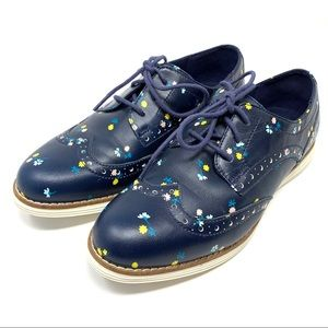 Cole Haan Navy Floral Leather Wingtip Oxfords 6.5